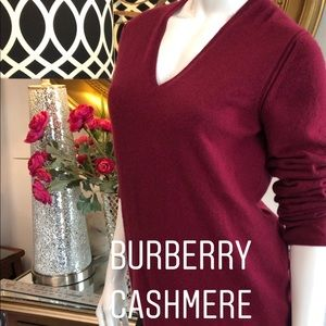 Burberry Cashmere Long Sleeved V neck Sweater